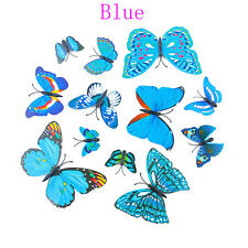 12 Pcs Party Supplies Home Butterfly Artificial Wire 3d Cake Topper Blue