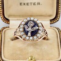 Antique Georgian 9Ct Gold Ring With Dark Blue Bristol Glass & Diamonds