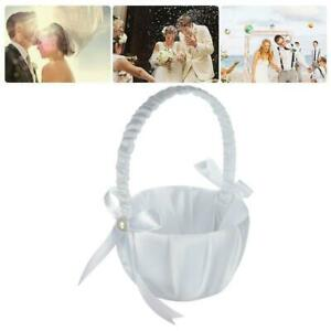 Romantic Bowknot White Satin Weddings Ceremony Party Flower Girl Basket A+