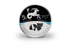 10 Dollar Silbermünze Sternzeichen Steinbock mit Onyx Edelsteinen im Etui