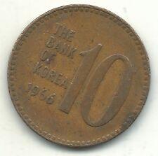 A VINTAGE HIGHER GRADE 1966 SOUTH KOREA 10 WON COIN-MAY351