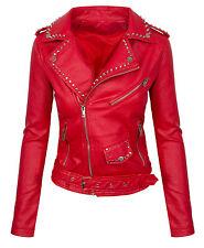 Ladies Faux Leather Jacket Between-seasons Biker look D-310 NEW