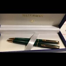 Orig vintage France made Watermans Ball Point Pen & Pencil set In Box - Green