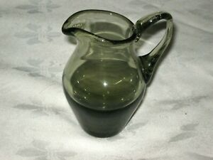 A Vintage 70's Brown Smoke Art Glass Krosno/Whitefriars ?? Mini Creamer Jug