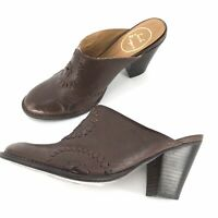 Jack Rogers Brown High Heels Mules Clogs Womens Size 6 Shoes Leather
