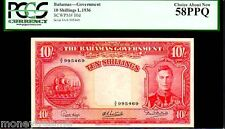 "BAHAMAS P10d ""KING GEORGE VIth"" 10/- SHILLINGS 1936 PCGS 58PPQ!"
