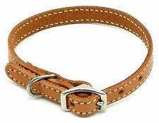 "HAMILTON 12"" x 3/8"" Stitched Leather Dog Collar, Tan"