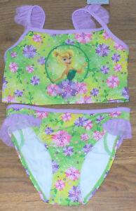 NIB Disney Tinkerbell Floral 2 Piece Swimsuit 7/8 Nice