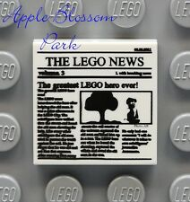 NEW Lego 2x2 White Minifig Newspaper FLAT TILE - Printed w/The Lego News - 10937