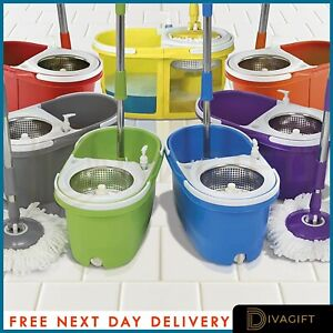 360° Floor Mop And Bucket Set With 2 Spin Mop Heads Floor Cleaner Home Cleaning