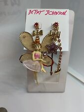 "$45  Betsey Johnson ""Fairyland"" Fairy Mismatch Dangle Earrings A30f"