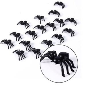 24 Fake Spider Black Toys Halloween Small Funny Joke Prank Props Fun Party Gifts