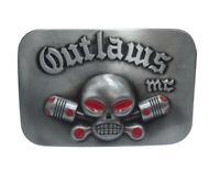 Boucle de ceinture tête de mort outlaws, hors la loi.