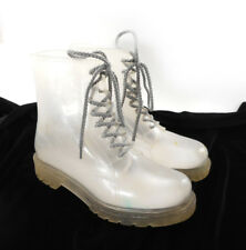 Dirty Laundry Women's Sz 7 Rain Boots Clear See Through Transparent Combat