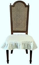 Stone Washed Linen Chair Seat Cover with 4 sided Ruffle in Off White Large