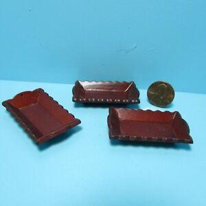 Dollhouse Miniature Mahogany Wood Serving Tray Set of 3 ~ CLA10679