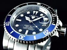 "New Legend Mens 200M "" BATMAN "" Deep Blue Diver Sapphitek Black Dial SS Watch"