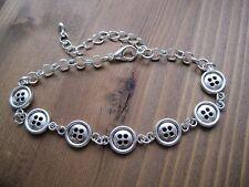 CUTE BUTTONS Bracelet Chain Link Tibetan Silver Charm Sewing Wrist