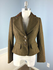 Banana Republic Brown Embellished Peplum Blazer Jacket Wool Alpaca S 4 Career  !