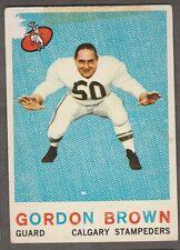1959 TOPPS CFL GORDON BROWN CALGARY STAMPEDERS #28(ST. MARTIN'S)
