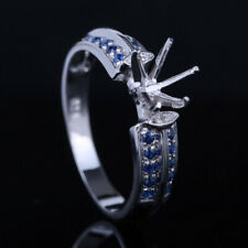 14K White Gold Real Diamond&Sapphire Round Cut Semi Mount Engagement Fine Ring