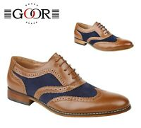 MENS FORMAL SMART  Wedding Tan Navy Brogues Oxford Shoes - Size 6 7 8 9 10 11 12