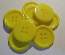 10 x Large YELLOW 4-Hole Plastic Buttons 22mm Wide (SB7J)