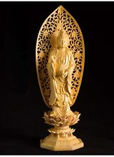 Chinese Boxwood handwork carving GuanYin hold Bottle figure statue