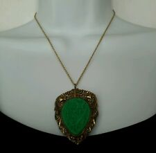 """VTG Green Carved Pheasant Dragon Butterfies Necklace 17.5"""" Chain 2 3/8"""" Pendant"""