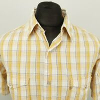 Wrangler Mens Vintage Western Shirt Snap LARGE Short Sleeve Yellow Check