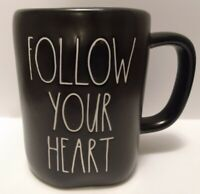 Rae Dunn FOLLOW YOUR HEART Coffee Mug Ceramic Black