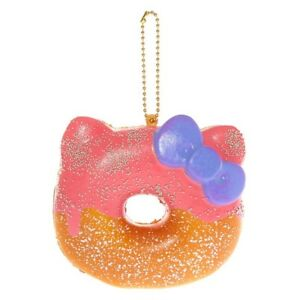 Sanrio Hello Kitty Half Strawberry Donut Squishy Keychain Charm Squish Keychain