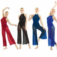 Womens Sleeveless Sequin Flare Leotard Lyrical Ballroom Latin Jumpsuit Dancewear