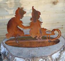 Patine Décoration de Jardin Déco Jardin Luge Enfants Hiver Noël Métal