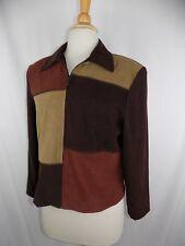BRIGGS PETITE WOMEN'S 6 P Brown Tan Patchwork Blazer Zip Jacket