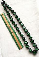 "Hawaiian Real Kukui Nut Necklace Green Turtles 32"" Leis Graduation Luau Wedding"