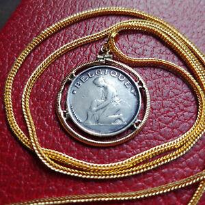 "Antique Rare 1923 Belgian Franc Coin Pendant 28"" 18KGF Gold Filled Foxtail Chain"