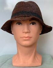 ** GAP ** Mens Brown Straw Fedora Trilby Packable Foldable Summer Hat One Size