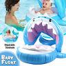 Shark Kids Baby Float Boat Ring Toddler Swimming Pool Swim Seat Sunshade Canopy