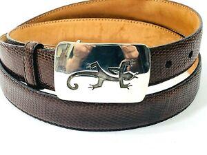 Sterling Silver Lizard Buckle .925 Genuine Iguana Belt 38 Robert Talbott Brown
