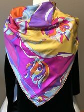 "Vintage Silk Scarf Pink Purple Yellow white Psychedelic Mod Hand Rolled 34"" X 34"