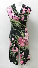BLUMARINE Ladies Black Pink Green Draped Neck Stretch Floral Dress IT44 UK12