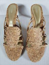Fioni Cork Look Gold Metallic Fleck Slip On Beachy Resort Heels Sandals Size 6.5