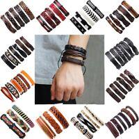 Punk Multi-layer Leather Belt Bracelet Wristband Adjustable Bangle Men Jewellery