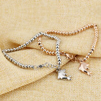 Cute Dolphin Silver Rose Gold GP Surgical Stainless Steel Bangle Bracelet Gift