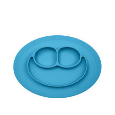 Cute Bowl Silicone Mat Baby Kids Child Suction Table Food Tray Placemat Plate Light Blue