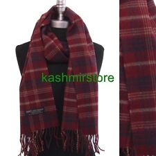 New 100% CASHMERE SCARF MADE IN SCOTLAND PLAID Check SOFT UNISEX Wine/blue/tan