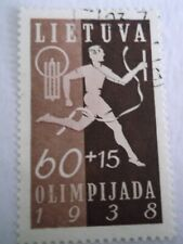 1938 Lithuania 1st National Olympic Fund 60c + 15c Dark Brown used Mi.424, T51