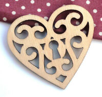 10 x Wooden Filigree Heart Shape Wedding hearts 40mm Unpainted