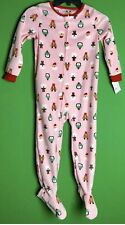 Carter's Toddler Girl Fleece Footed Pajamas New With Tags Pink Bears Penguins 5T